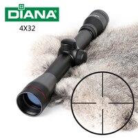 Tactical DIANA 4X32 Riflescope One Tube Glass Double Crosshair Reticle Optical Sight Rifle Scope