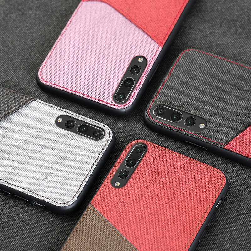 Canvas Phone Case For Huawei P30 P10 Plus P20 Lite Mate 9 10 Pro P SMART 2019 stitching Card slot For Honor 8X Note 9 V10 Nova 3 in Fitted Cases from Cellphones Telecommunications