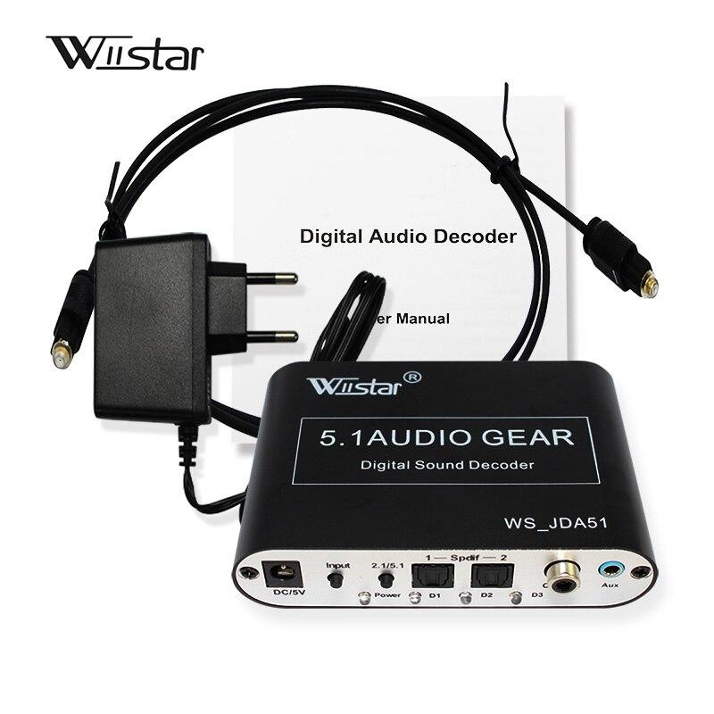 Wiistar 5.1 Audio Décodeur SPDIF Coaxial à RCA DTS AC3 Numérique à 5.1 Amplificateur Analogique Décodeur pour PS3 DVD lecteur
