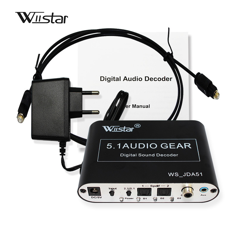 Decodificador de audio Wiistar 5.1 SPDIF Coaxial a RCA DTS AC3 Decodificador analógico de amplificador digital a 5.1 para reproductor de DVD PS3