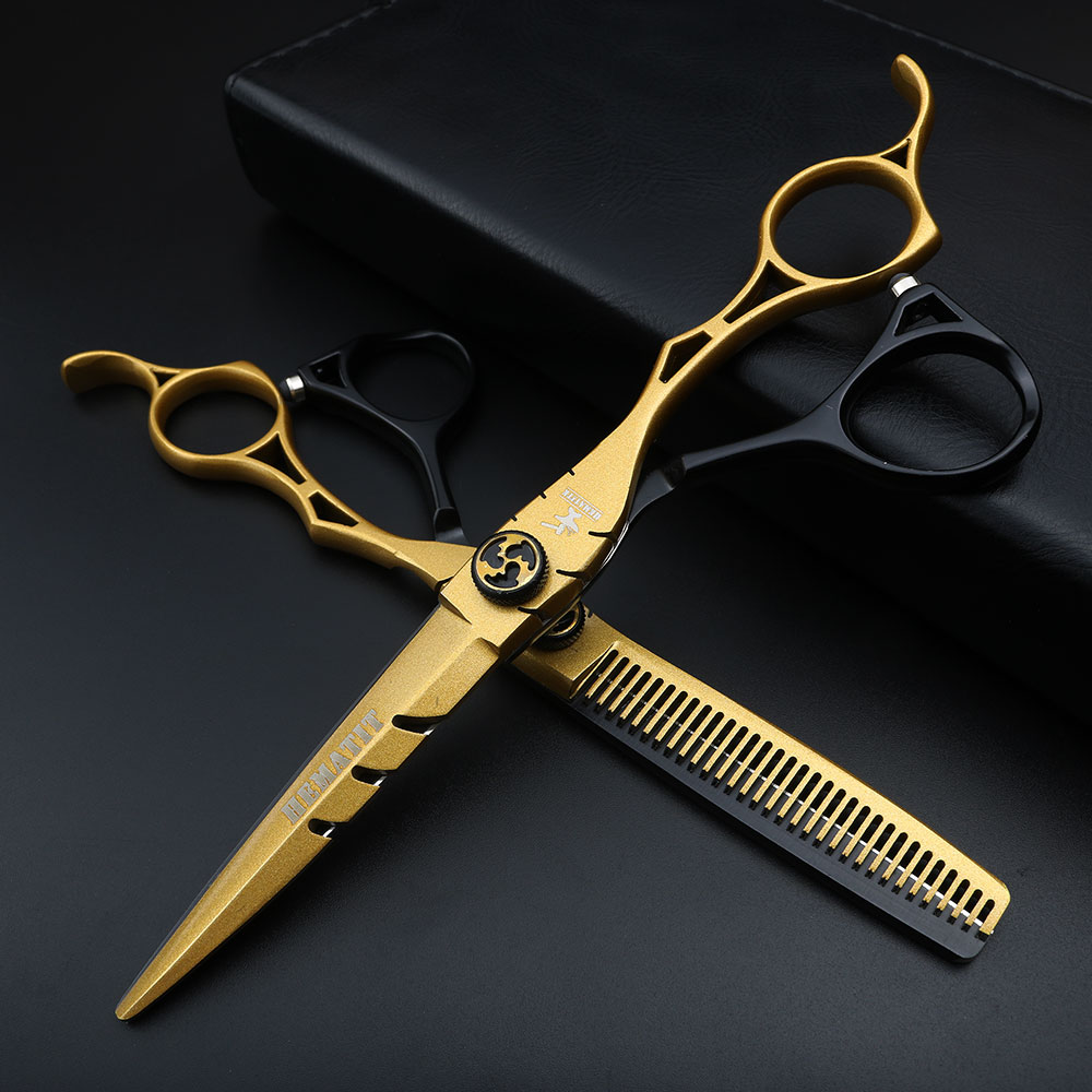 "6 ""hair scissors hairdressing scissors apan 440C Stainless steel hairdressing scissors kit 2-color stitching haircut scissors"