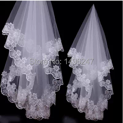 1.5 meters 3 merters long bridal veils custom made pretty appliques lace bridal veils cheap