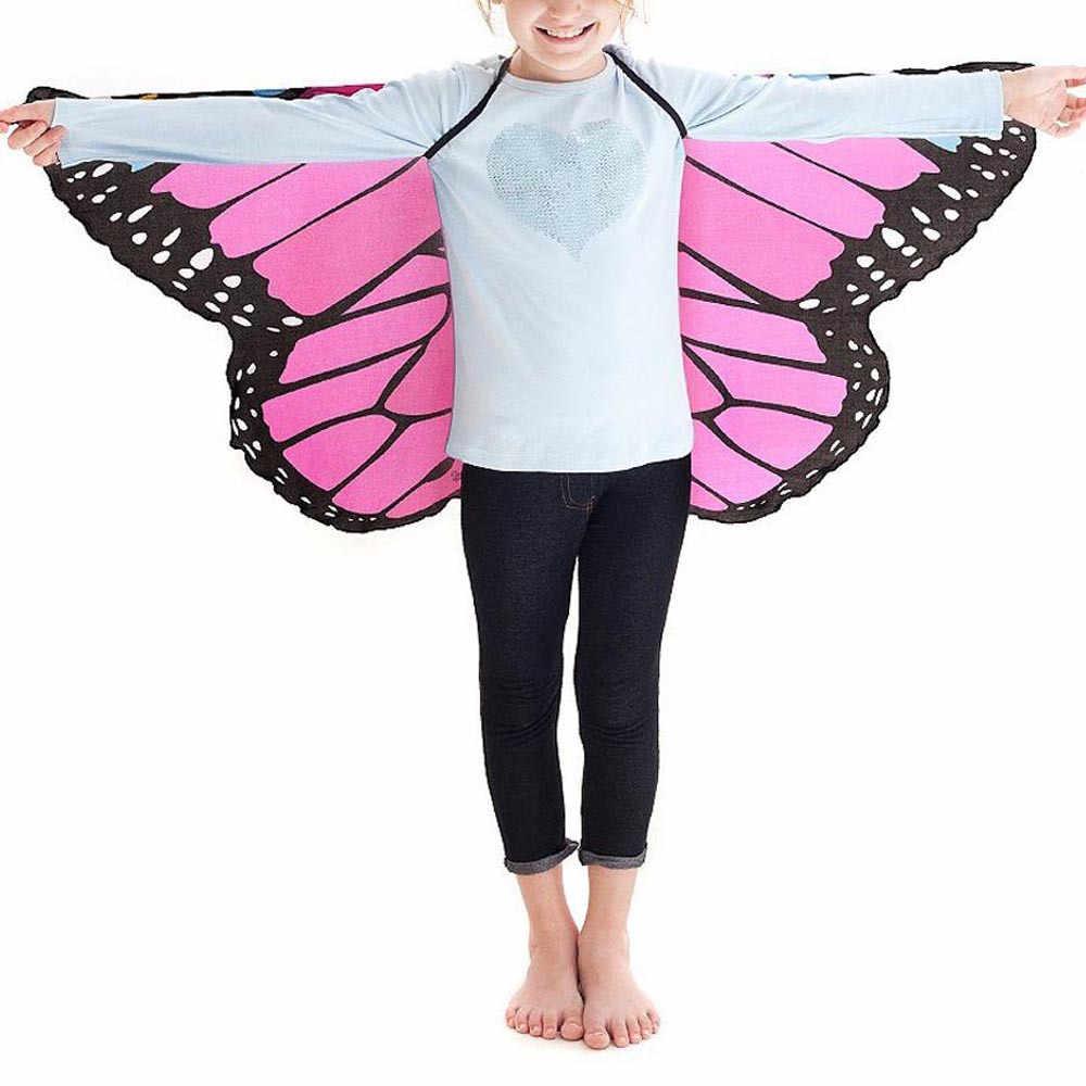 Moda infantil niños niñas bufanda Bohemia estilo mariposa imprimir mantón de Pashmina traje accesorio ponchos y capas # H20
