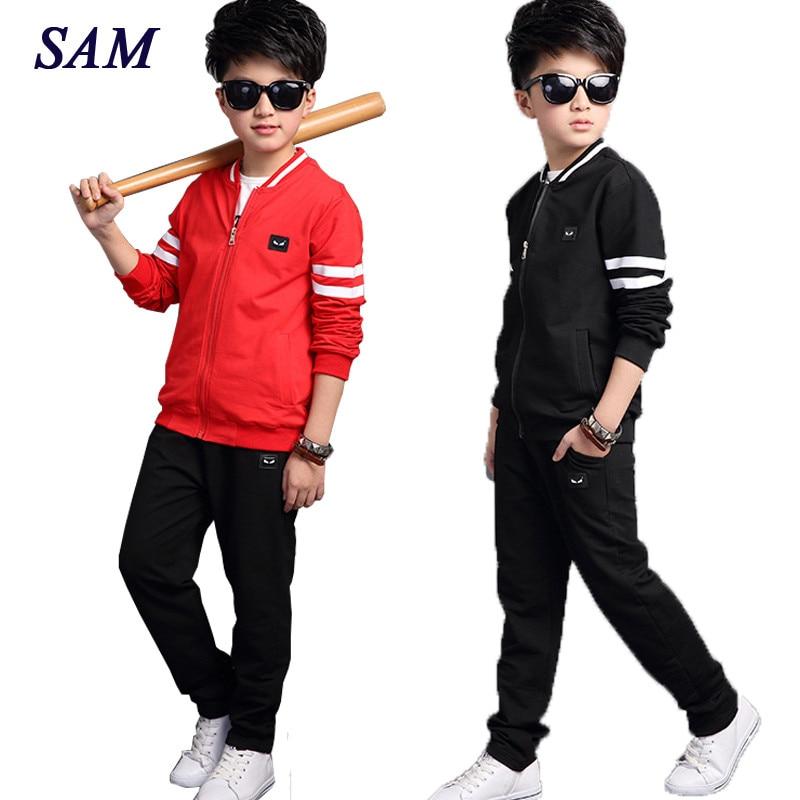 2017 New Autumn Boys Sports Clothing Sets Children's Fashion T shirt + Jackets + Pants 3 Pcs Suits Teenagers Sports Suit Clothes