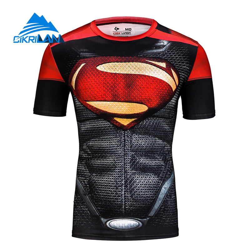 Outdoor Bodybuilding Trekking Hiking Quick Dry T-shirt Men Short Sleeve Cycling Fitness Camisetas Super Hero Tshirt Homme