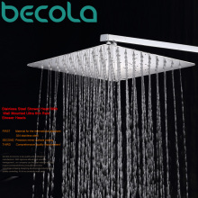 BECOLA high quality 8 inch 10 Inch 12 inch 16 inch bathroom rain shower head Stainless Steel rain shower head and shower arm