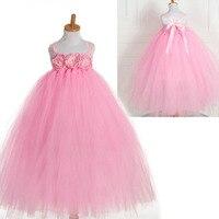 Лето туту крючком 3D цветок свадьба дети розовый невесты платья для девочек праздничное платье для девочки