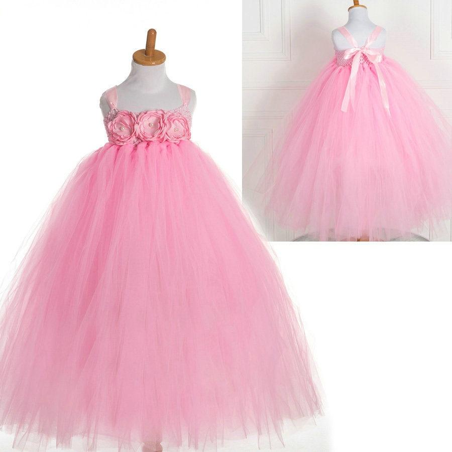 Verão tutu crochê 3D rosa crianças vestidos da menina de flor crianças vestidos de festa para o casamento de meninas