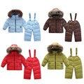 Moda 2017 roupas Quentes para as meninas para baixo casacos para as meninas trajes de roupas para crianças do menino do inverno ao ar livre Jaqueta Parka
