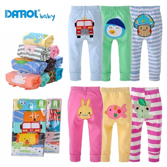 3M-24M 5Pieces/Lot All Season Low Waist Cotton Long Baby Pants Boys Girls Infant Newborn Clothes Straight Elastic Trouser DR0150