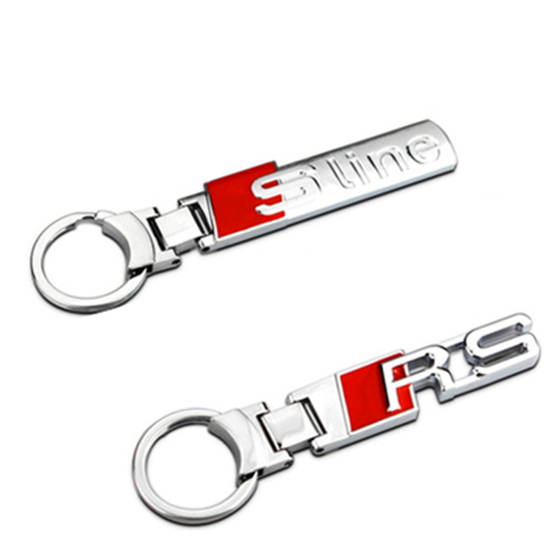 1pcs fashion S line alloy metal stainlees steel car key ring chain keychain keyring for Audi A1 A3 A4 A5 A6 A7 A8 Q3 Q5 Q7 TT 80 best price 10pcs stainless steel wire keychain cable key ring for outdoor hiking popular