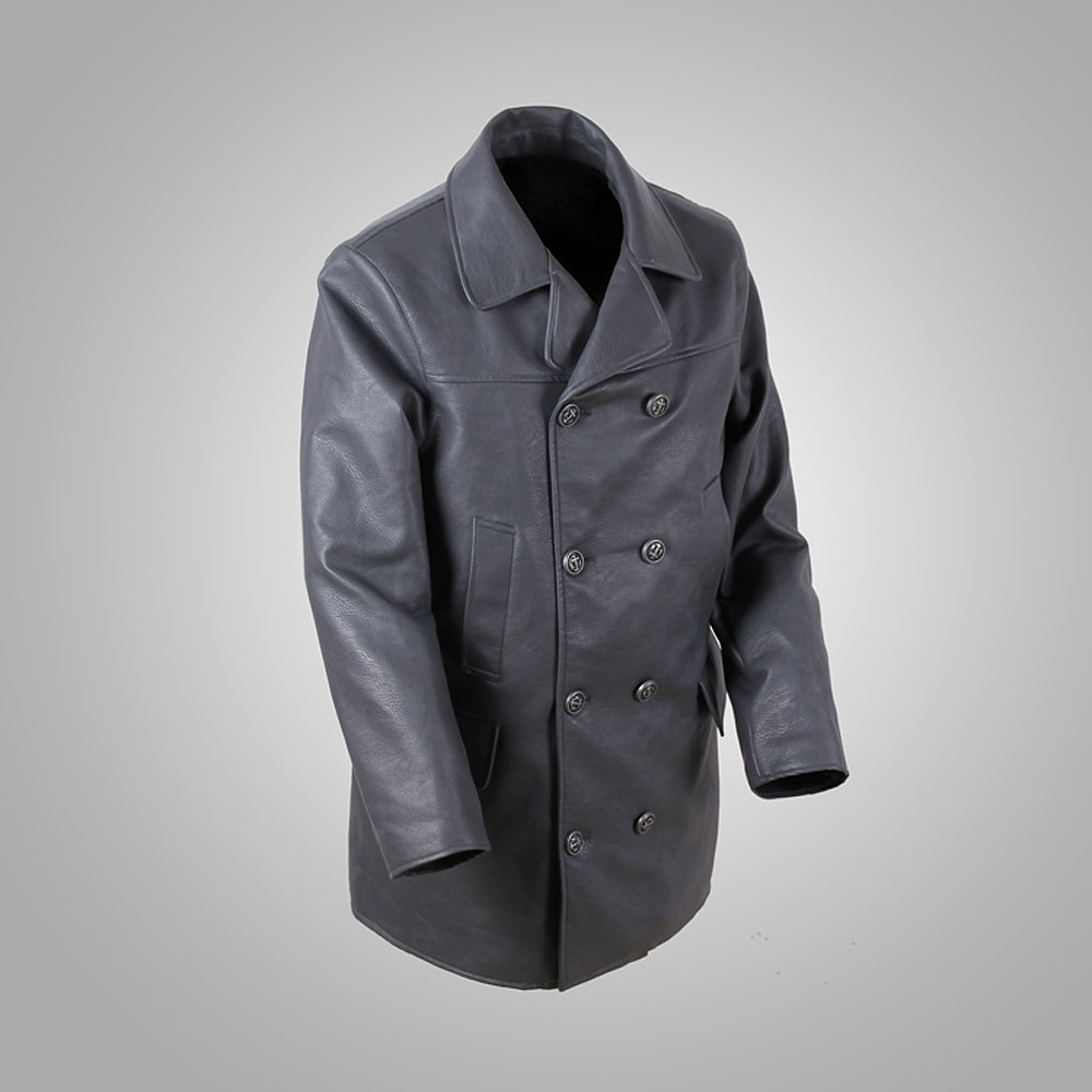 German Air Force Black Men/'s WW2 Military Real Cowhide Leather Jacket Pea Coat
