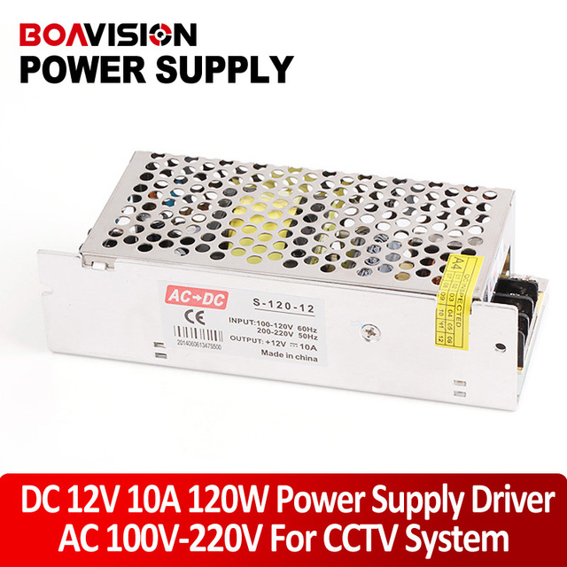 Mini Size LED Switching Power Supply DC 12V 10A 120W Transformer AC 110/220V Input Work With CCTV Camera