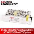 Mini Tamanho LED Fonte de Alimentação DC 12 V 10A 120 W Transformador AC 110/220 V Trabalho de Entrada com Câmera de CCTV