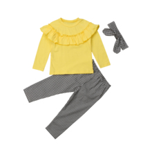 3Pcs Toddler Kids Baby Girl Ruffle Solid Tops Long Sleeve T shirt Plaid Pants Leggings Headband Outfit Clothes Set 1-6Y 2019 casual toddler kids baby boy girl clothes to do list long sleeve t shirt tops pant 2pcs outfit spring autumn suit tracksuit 1 6y