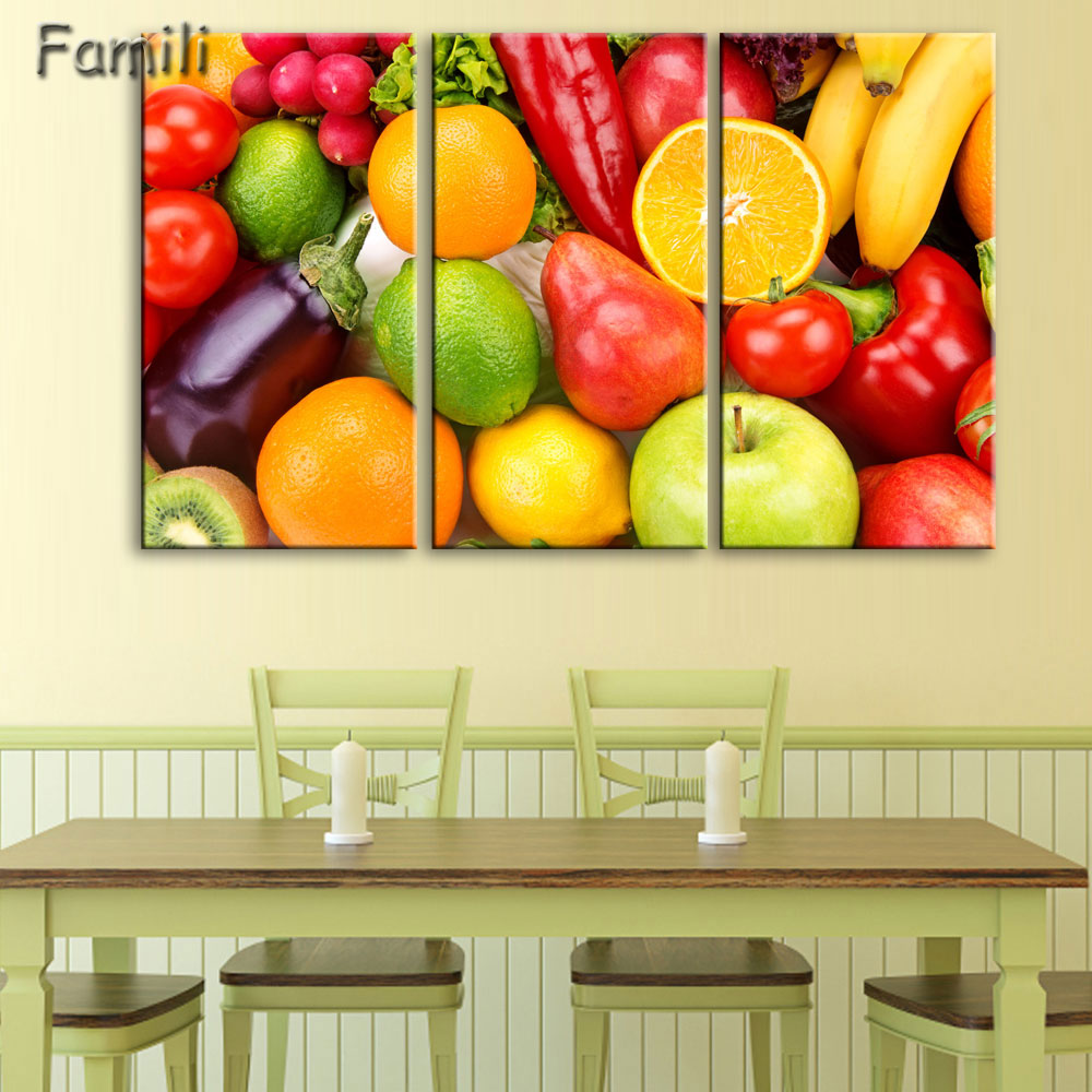 3 Panel Fruit Canvas Painting Cuadros Decoration Wall Art Lemon ...