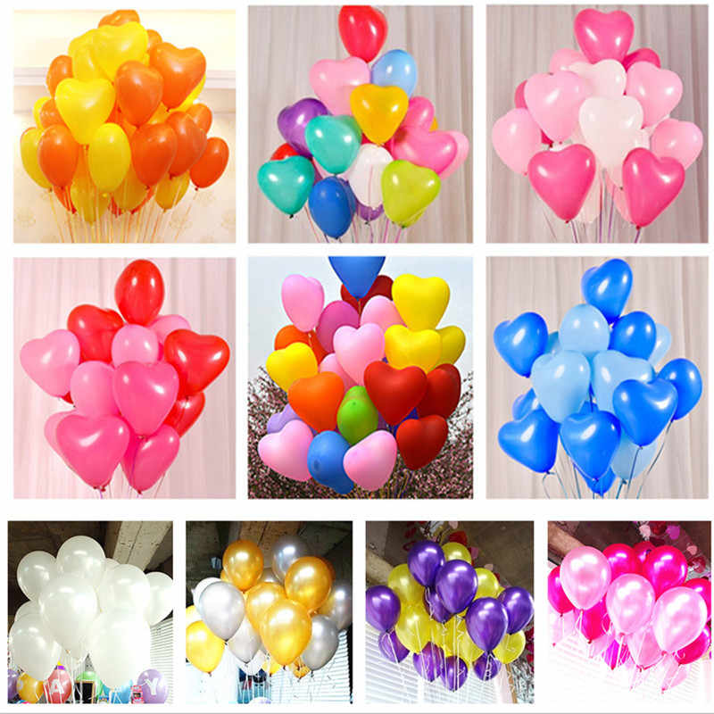 10pcs 12inch 2.2g Blue Heart Round Latex Balloons Inflatable Air Balls Wedding Decorations Happy Birthday Party Supplies Globos