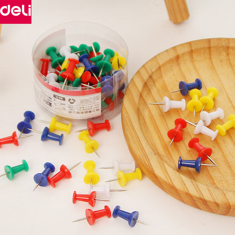 Deli Metal Push Pins Colored Pin for Paper Photo Notebook Of