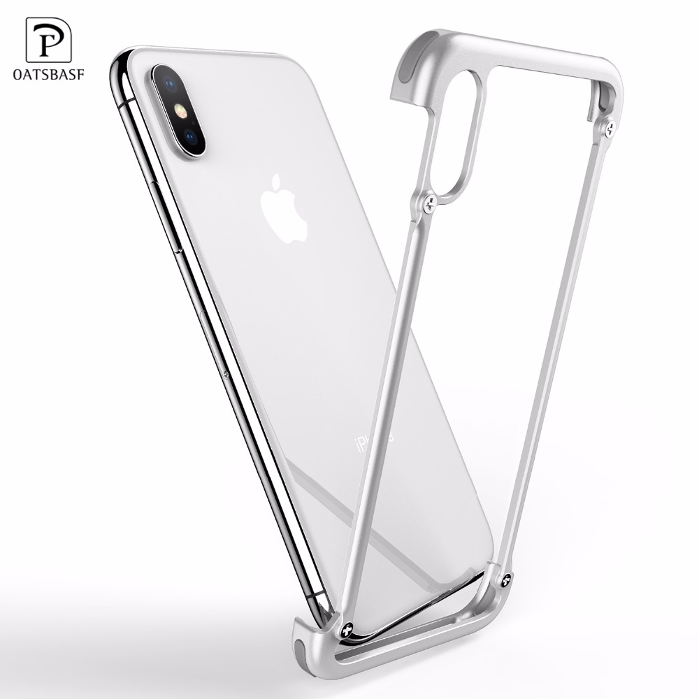 OATSBASF Airbag Metal Case For iPhone X Case Personality Airbag Shell for iPhone 8/8 Plus Metal Bumper Cover Case For iPhone 7 6