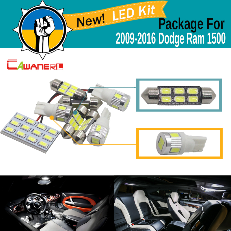 Cawanerl Car 5630 SMD LED Bulb LED Kit Package White Truck Dome Map Trunk License Plate Light For 2009-2016 Dodge Ram 1500 buildreamen2 car interior led bulb 5630 smd led kit package white auto map dome license plate trunk light for scion tc 2008 2012