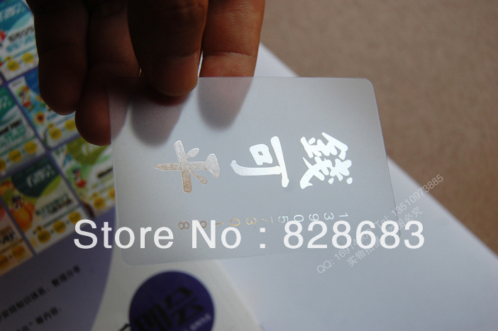 Transparent business card with Silver foil hot stamping on logo and text 200pcs