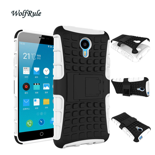 WolfRule Case Meizu M1 Note Cover Dual Layer Armor Silicone & Plastic Case For Meizu M1 Note Case Meilan 1 Holder Stand Funda