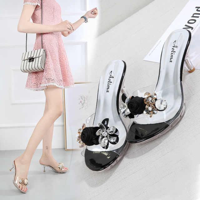 2019 ผู้หญิงฤดูร้อนรองเท้าแตะดอกไม้คริสตัล 6.5 ซม.รองเท้าส้นสูง Mules สไลด์ Lady Transparent Flip Flop รองเท้าแตะรองเท้าแตะเยลลี่รองเท้า