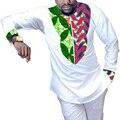 Новый Дизайн Африканский Печати Мужчины С Длинным Рукавом Футболка Африка Pattern Белого Dashiki Рубашка Мужская Мода Пользовательские Африканских Традиционных Топы