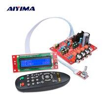 Aiyima lc75342 remoto pré amplificador tone board display lcd de 4 vias entrada áudio agudos baixo volume controle tom para amplificador diy