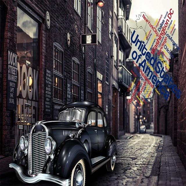 Custom Photo Wallpaper Street Retro Classic Car Bar Restaurant Ktv
