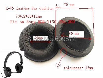 Linhuipad MDR V150 ყურსასმენი ტყავის ყურის საყურეები, 70 მმ დიამეტრი, 4 հատ / ლოტი, Sony MDR-V150 V250 V300 ATH-SJ3 ATH-SJ5