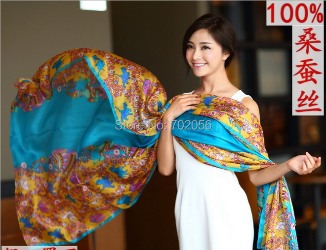 Gorgeous new arrival 100% silk   scarf     wrap   shawl wholesale Retails womens 18 colors MIXED 10 pcs/lot 180*110cm #3778