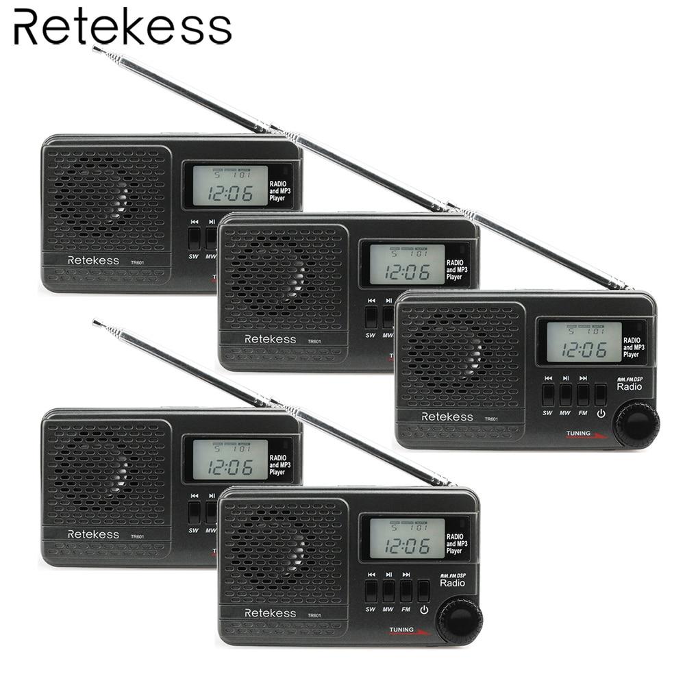 Retekess Pocket Digital DSP AM//SW//FM Clock Radio MP3 Player w//Micro SD Card USB