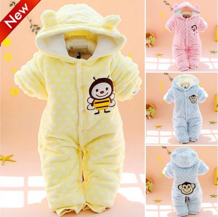 2015 Newborn 0-12M Coral fleece hooded Romper thickened cartoon winter warm clothing baby climbing a cotton padded clothes