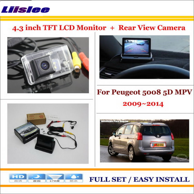Liislee For Peugeot 5008 5D MPV 2009~2014 - Auto Back Reverse Camera + 4.3 Color LCD Monitor = 2 in 1 Rearview Parking System