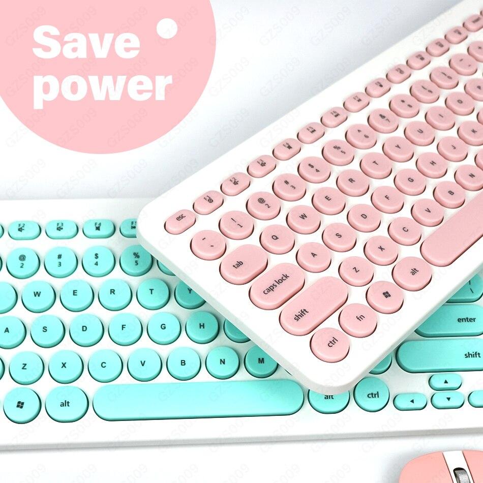 Souris clavier et souris sans fil mini récepteur usb clé multimédia à clé ronde pour bureau à domicile ordinateur portable portable utilisation trois couleurs