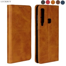 LUCKBUY For Samsung Galaxy A9 2018 A8 S9 Plus Luxury leather Flip Book cases for Note 8 Feel SC-04J 2