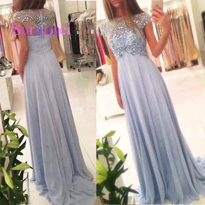2019 Evening Dress For Pregnant Scoop A Line Beaded Chiffon Cap Sleeve  Graduation Maternity Party Gown dd86e47c9bff