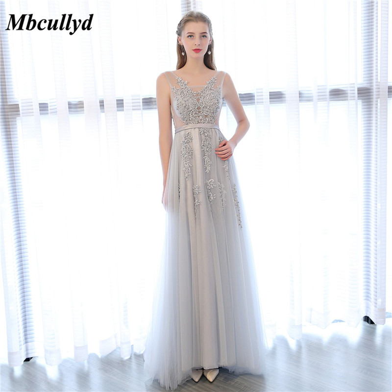 Light Grey   Bridesmaid     Dresses   2019 Cheap Sheer V Neck Long Formal Party   Dresses   Sweep Train Maid Of Honor Wedding Party Gowns