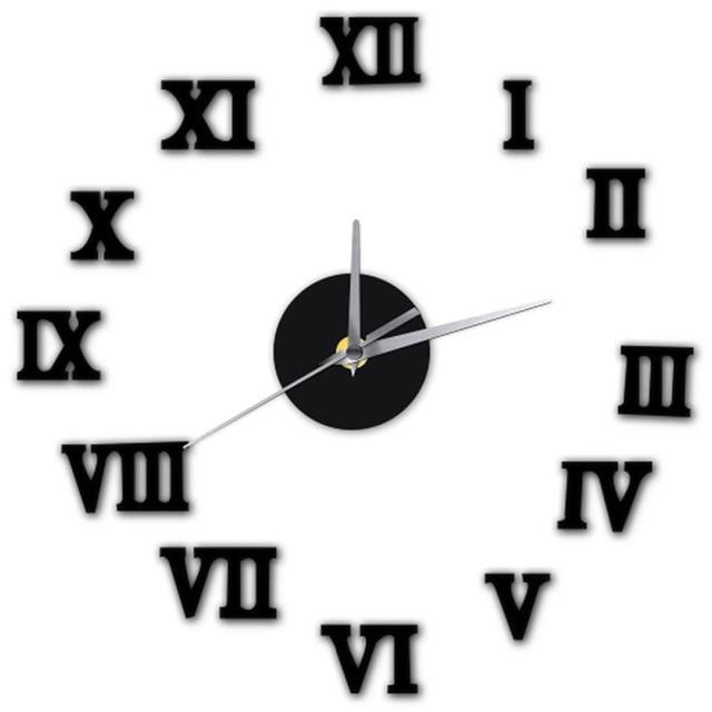 Black Roman Numerals Creative Antique DIY Self Adhesive Acrylic Living Room Wall Clock Quartz 3D Digital