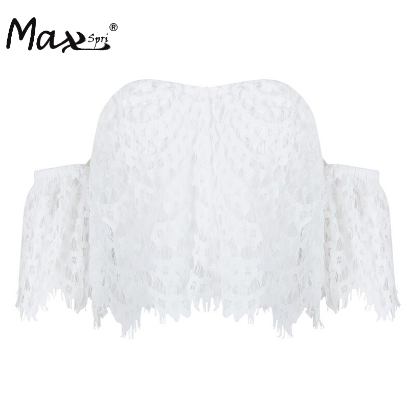 Max Spri 2017 New White Summer Slash Neck Off The Shoulder Strapless Hollow Out Lace Crop