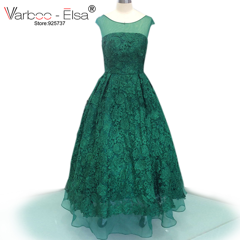 Elegant Lace Sleeve Short Wedding Dresses 2016 Scoop Neck: Aliexpress.com : Buy VARBOO_ELSA Elegant Green Lace