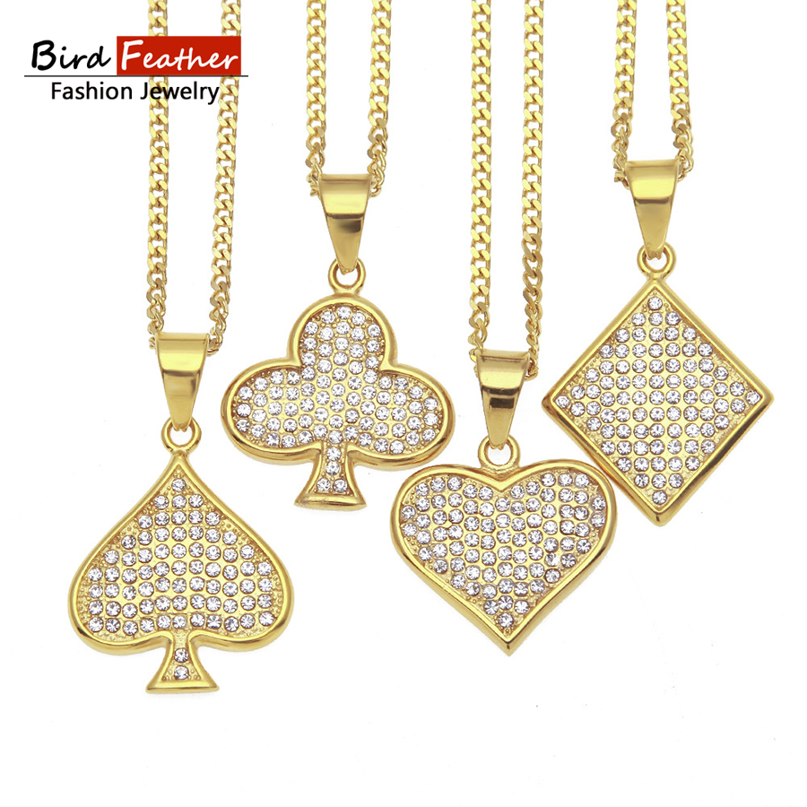 Golden Color Stainless Steel Necklace for men women 4 type poker card Pendant Chain Necklaces & Pendants Hip Hop Fashion Jewelry
