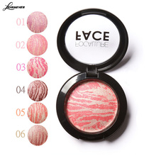 Cosmetic Mineral Blusher Powder Professional Cheek 6 Colors Makeup Baked Blush Bronzer Blusher Balm With Brush M02728