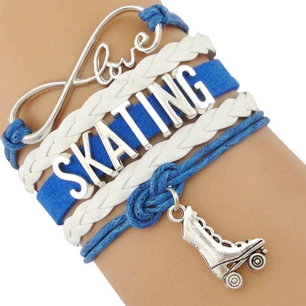 Roller Ice Skate Skating Shoe Sports Infinity Love Charm Bracelets Silver Royal Blue Pink Adjustable Jewelry Women Men Boy Gift
