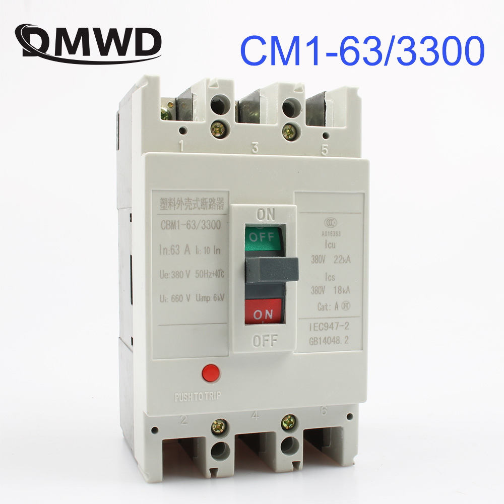 CM1-63/3300 MCCB 16A 20A 25A 32A 40A 50A 63A molded case circuit breaker CM1-63 Moulded Case Circuit Breaker idpna vigi dpnl rcbo 6a 32a 25a 20a 16a 10a 18mm 230v 30ma residual current circuit breaker leakage protection mcb a9d91620