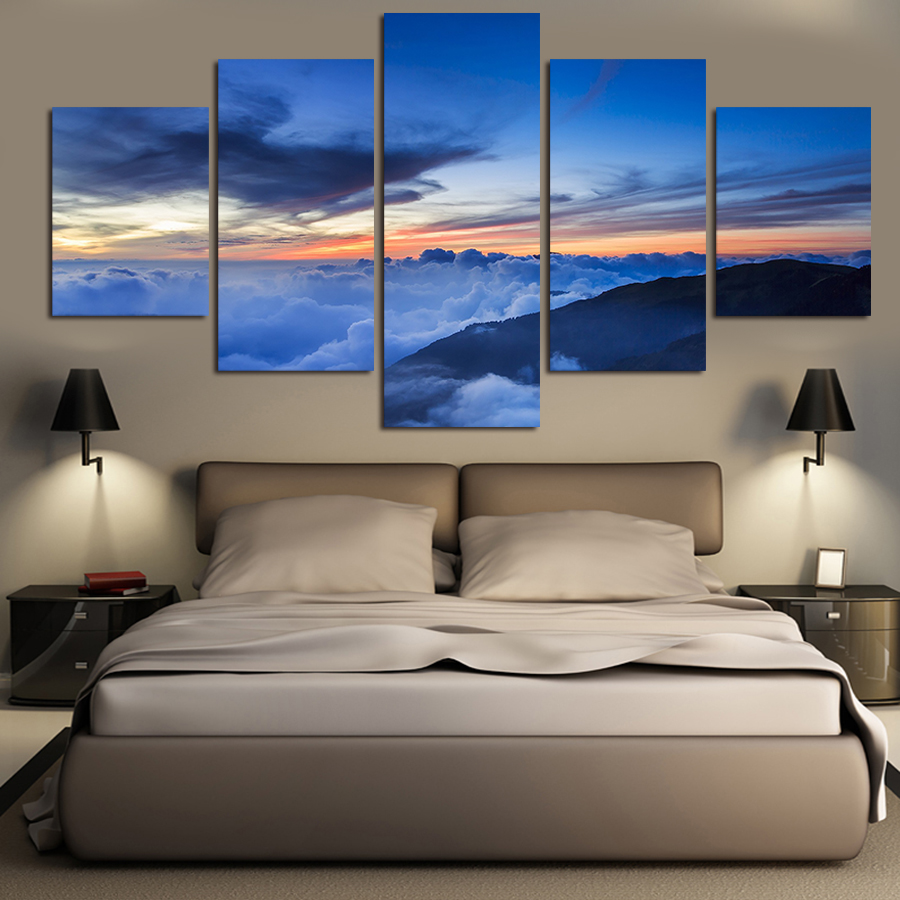 5 pcs landscape oil paintings on canvas wall art beautiful for 10x20 living room