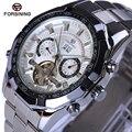 Forsining marca de luxo multifunções tourbillon relógios mecânicos cinta de aço inoxidável relógio automático dos homens do relógio à prova d' água
