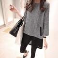 2017 Mujeres de La Moda de Primavera Otoño Túnica Vestido Casual Vestidos de Lino Del Remiendo de 3/4 de La Manga Del Cuello de O Mini Camiseta XL-5XL
