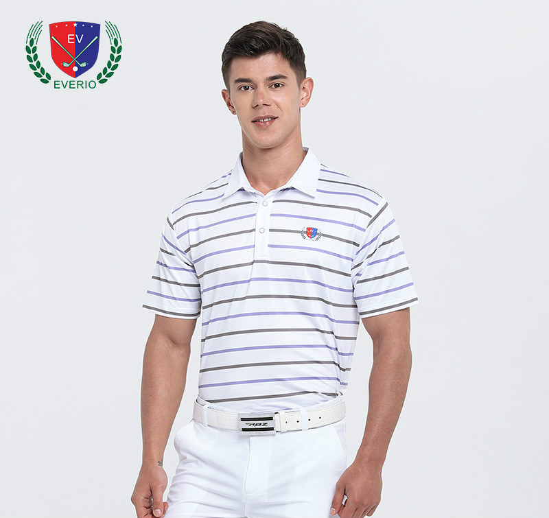 Men Short Sleeve Golf Polo Shirt Tennis T Shirt Stripe Pattern Breathable Tee Summer Sports Polo Shirt Golf Training Shirts